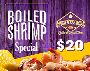 Boiled Shrimp Special at Gumbeaux's