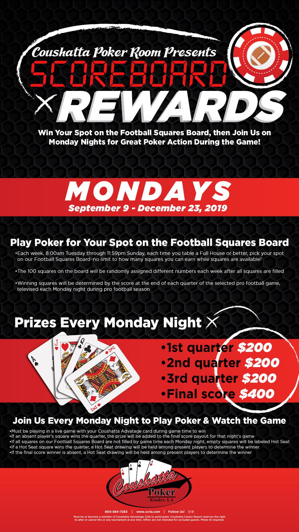 Poker Scoreboard Rewards - Coushatta Casino Resort